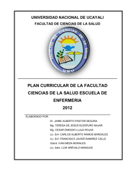 PLAN CURRICULAR 2012 - Universidad Nacional de Ucayali