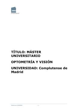 Documento de Verificación ANECA - Facultad de Óptica y Optometría