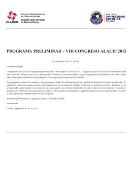 PROGRAMA PRELIMINAR - VIII CONGRESO ALACIP 2015