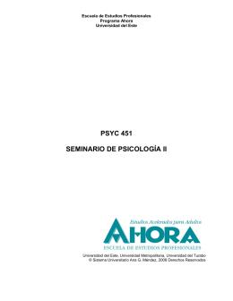 psyc 451 seminario de psicología ii