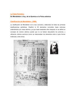 La Tabla Periódica De Mendeleiev a hoy, de la Química a la Física