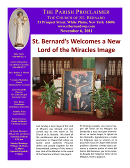 St. Bernard`s Welcomes a New Lord of the Miracles Image