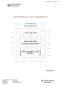 arxiu històric de la ciutat de barcelona fons privats fons personals