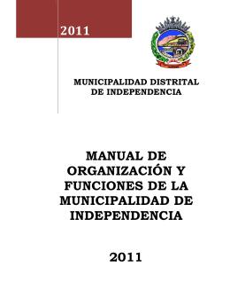 manual de organización y funciones de la municipalidad de