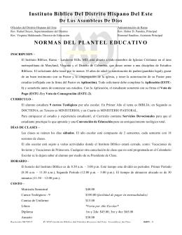Instituto Bíblico Del Distrito Hispano Del Este NORMAS DEL