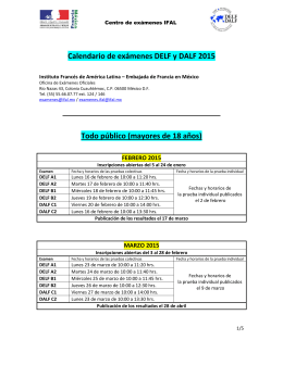 Calendario de exámenes DELF y DALF 2015 Todo público