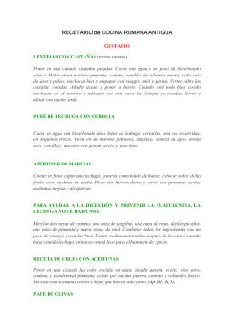 RECETARIO COCINA ROMANA ANTIGUA I