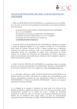 Aviso Legal - Real Club de Regatas Cartagena