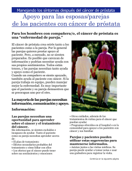 PROSTATE CANCER FACT SHEET: Managing Symptoms After