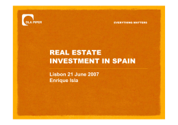 REAL ESTATE INVESTMENT IN SPAIN