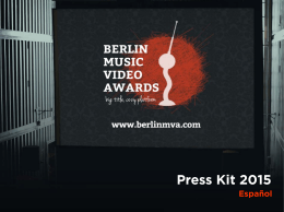 Press Kit 2015 - Berlin Music Video Awards