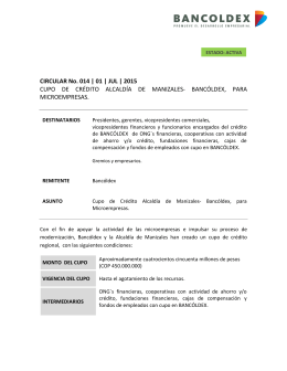 CIRCULAR No. 014 | 01 | JUL | 2015 CUPO DE