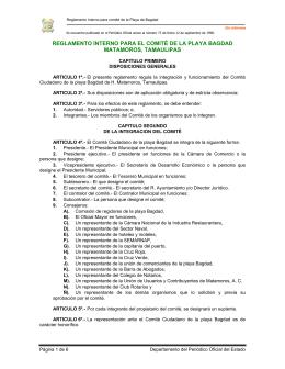 Reglamento Interno para el Comité de la Playa Bagdad