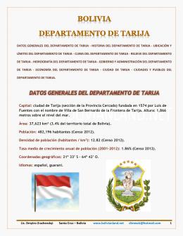 BOLIVIA - DEPARTAMENTO DE TARIJA