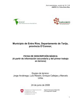 Municipio de Entre Ríos, Departamento de Tarija, provincia