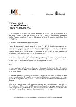 bases del premi composició musical Paquita Madriguera 2015