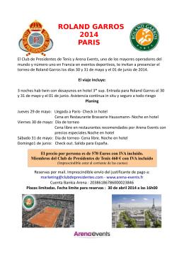 ROLAND GARROS 2014 PARIS