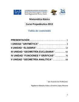 Matemática Básica Curso Propedéutico-2013 Tabla de