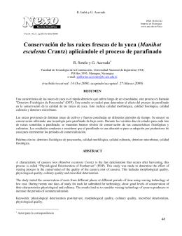 Conservación de las raíces frescas de la yuca (Manihot esculenta