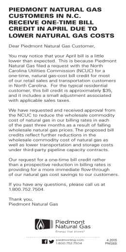 piedmont natural gas customers in nc receive one