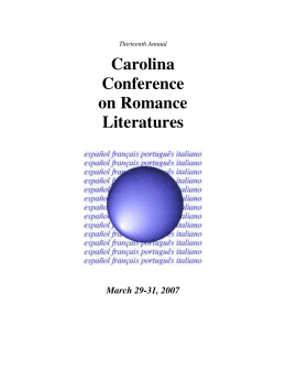 Thirteenth Annual Carolina Conference on Romance Literatures
