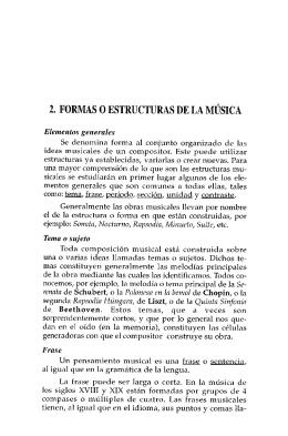 2. FORMAS 0 ESTRUCTURAS DE LA MÚSICA