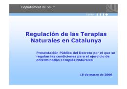 Regulación de las Terapias Naturales en Catalunya