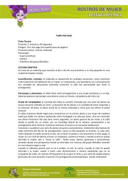 TURN THE PAGE Ficha Técnica Duración: 5