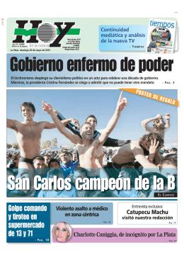 Gobierno enfermo de poder San Carlos campeón de la B