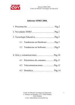 Informe SIMO 2004. 1. Presentación