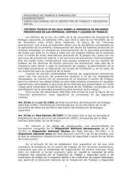 CRITERIO TECNICO Nº 83/2010 SOBRE LA PRESENCIA DE