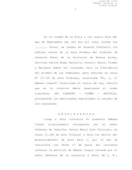 13.735 Hábeas corpus - Defensa Pública de la Provincia de Buenos