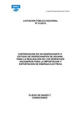 LICITACION PÚBLICA NACIONAL Nº 01/2015