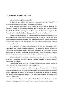 COLONIA PENAL DE SANTA ROSA (U.4) I. Introducción y objetivo