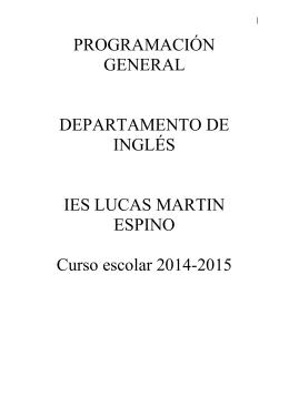 PROGRAMACIÓN GENERAL DEPARTAMENTO DE INGLÉS IES