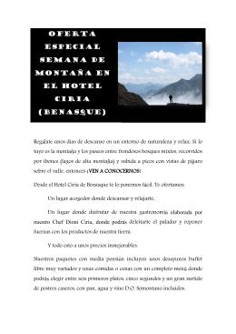 Oferta especial semana de montaña EN EL HOTEL CIRIA (Benasque)