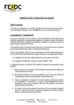 NORMATIVA DEL XV OPEN FEDC DE AJEDREZ SEDE Y FECHAS