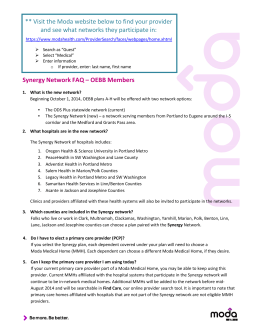 Synergy Network FAQ – OEBB Members ** Visit the Moda website