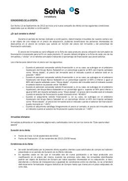 CONDICIONES DE LA OFERTA: Con fecha 13 de