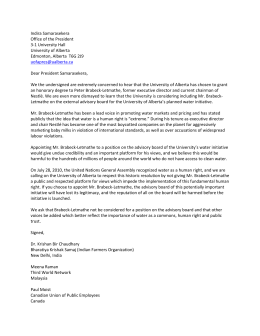 Open letter to University of Alberta president re: Nestlé