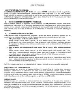 AVISO DE PRIVACIDAD I. IDENTIFICACIÓN DEL