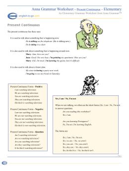 Anna Grammar Worksheet - Present Continuous