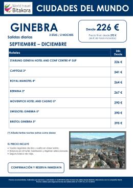 CIUDADES DEL MUNDO: Ginebra, desde 226 + tasas
