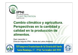 Cambio climático y agricultura. Perspectivas en la cantidad y