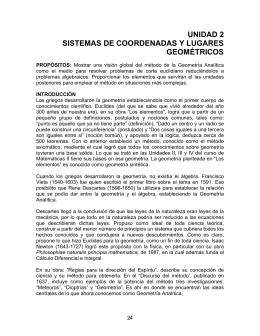 Sistemas de coordenadas y lugares geométricos