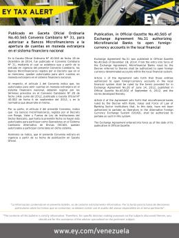 EY Tax Alert - Convenio Cambiario