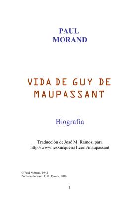 Vida de Guy de Maupassant (por Paul Morand)