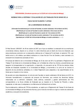 UNIVERSIDAD Facultad de Filosofía y Letras DE MALAGA