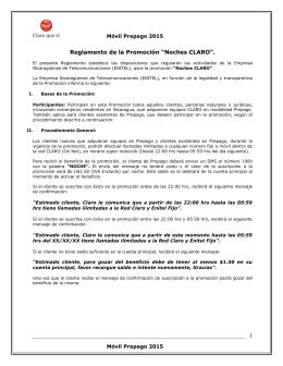 """Reglamento de la Promoción """"Noches CLARO""""."""