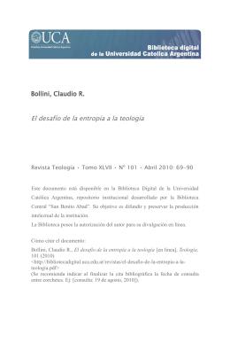 Bollini, Claudio R. El desafío de la entropía a la teología